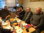 Coffee and cake after the visit to the pig farm of Wilhelm and Barbara Mues