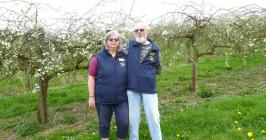 Colin and Monica in their orchard