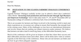 Invitation to the Uganda farmers' dialogue conference 2017