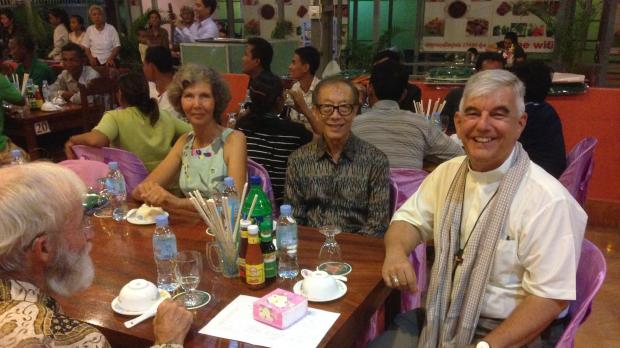 Soubert Son, initiator of the Dialogue, the bishop of Battambang and two German delegates
