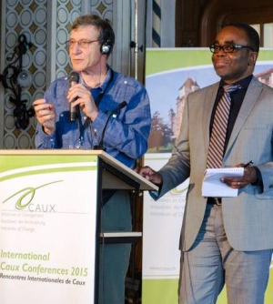 Speaking in Caux, Tony Rinaudo and Luc Gnacadja, Executive Secretary of the United Nations Convention to Combat Desertification