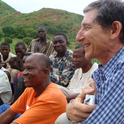 Tony with a group of farmers in Northern Ghana